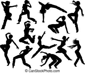 Street Dance Dancer Silhouettes - A set of woman street...