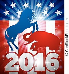 Democrats Winning Election 2016 Concept - Mascot animals of...