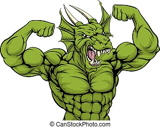 Mean Dragon Mascot - Cartoon tough mean strong green dragon...