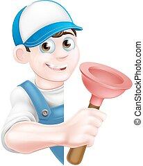 Cartoon Plunger Plumber - A cartoon plumber man in a cap hat...
