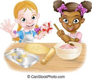 Girls Baking Cakes - Cartoon girls, one black one white,...