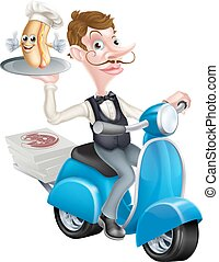 Cartoon Waiter on Scooter Moped With Hot Dog