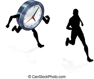Time Clock Running Work Life Balance Concept - A man running...