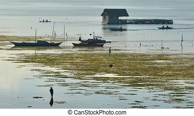Tagbilaran City water side early morning scenery in sunrise...