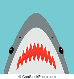 Shark with open mouth and sharp teeth. Vector illustration...