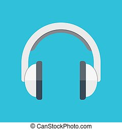 Headphones in flat style - Isometric headphones vector icon...
