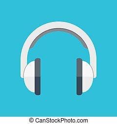 Headphones in flat style - Isometric headphones vector icon...