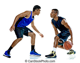 basketball players men Isolated - two basketball players men...