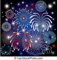 July 4th Fireworks - Vector Illustration for the 4th of July...
