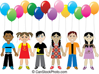 Balloon Kids - Vector of six cute happy kids with balloons...