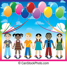 Balloon Background with Kids