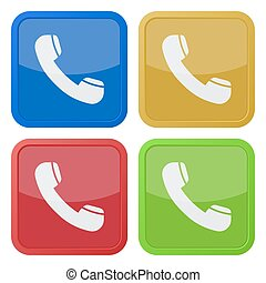 set of four square icons with telephone handset