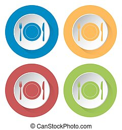 set of four icons - fork and knife with plate