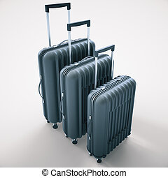 Suitcases on light background - Three diffrent sized dark...