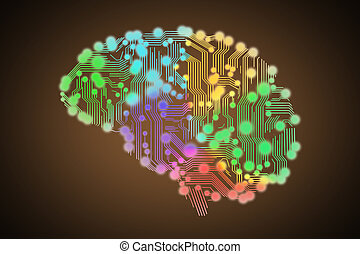 colored circuit board in form of human brain isolated on...