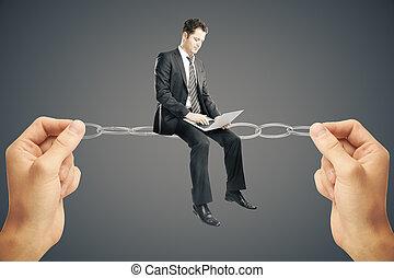 Balancing concept, businessman with laptop - Balancing...