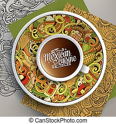 Cup of coffee and mexican doodles - Vector illustration with...