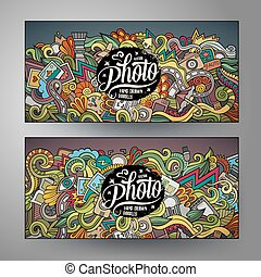 Banners templates set with doodles photo theme