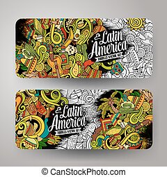 Cartoon hand-drawn doodles Latin American banners - Cartoon...