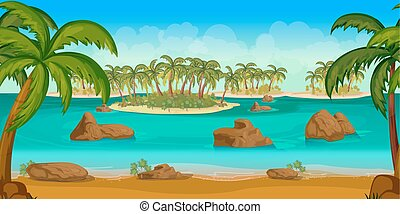 Beautiful tropical beach, Illustration of a cartoon summer ocean background with palm trees, coconuts, stones.