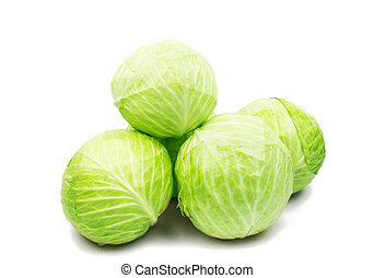 cabbages on white background