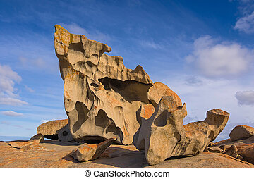 Remarkable Rocks, natural rock formation covered by golden...