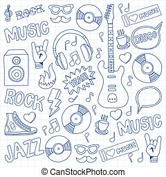 Music doodle vector set Hand drawn pictures