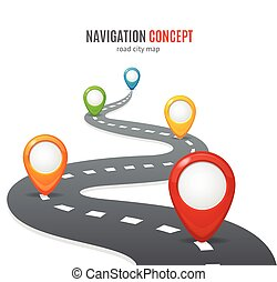 Navigation Concept Vector - Navigation Concept Road with Map...