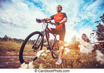 man with bike enjoy summer vacation - Mountain biking - man...