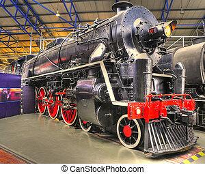 norteamericano, vapor, locomotora