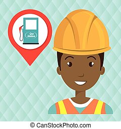 gas station attendant isolated icon design
