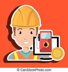 oil worker person isolated icon design, vector illustration...