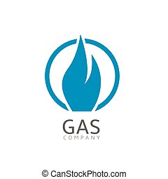 Gas company logo Blue fire symbol, Vector illustration