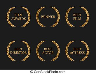 Film academy awards winners and best nominee gold wreaths on...