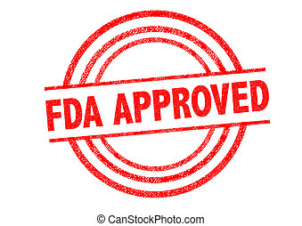FDA APPROVED Rubber Stamp over a white background