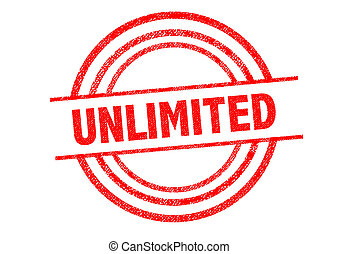 UNLIMITED Rubber Stamp over a white background