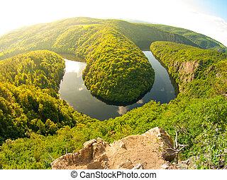 Vltava river forest meander in Czech Republic - Vltava river...