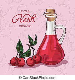 Extra fresh organic cherry juice - Decanter of Cherry Juice...