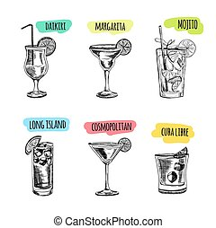 Set of cocktails and alcohol drinks Sketch - Vector hand...