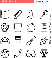 Education Vector Icons Set with red ribbon for tex -...