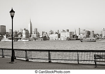 Hoboken boardwalk - New York City downtown from Hoboken...