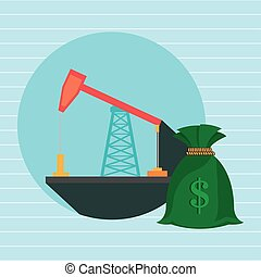 oil drilling money isolated icon design, vector illustration...