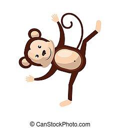 Circus monkey animal cartoon design, vector illustration. -...