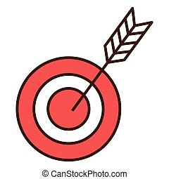 Target with arrow isolated flat icon, vector illustration...