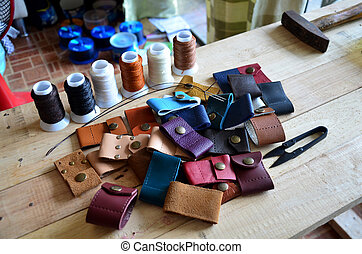 Leather craft tools for Handmade key ring and small bag made...