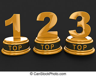 Top 1, 2, 3. Realistic gold percent isolated (3d render)
