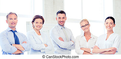 friendly business team in office - picture of friendly...
