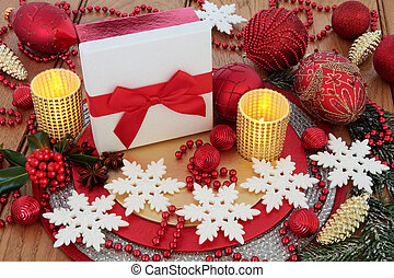 Christmas Gift Box and Decorations - Christmas white glitter...