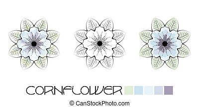 Cornflower colouring - Stylized Cornflower colouring, page...