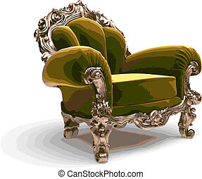 isolated classic chair vector - isolated classic golden...